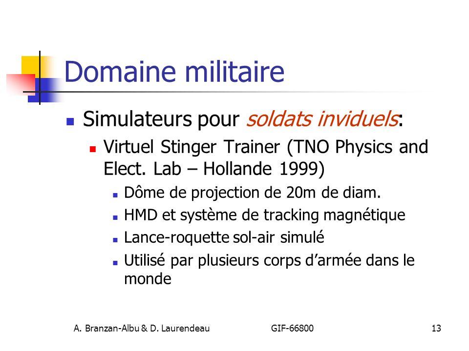 A. Branzan-Albu & D. Laurendeau GIF-66800 13 Domaine militaire Simulateurs pour soldats inviduels: Virtuel Stinger Trainer (TNO Physics and Elect. Lab
