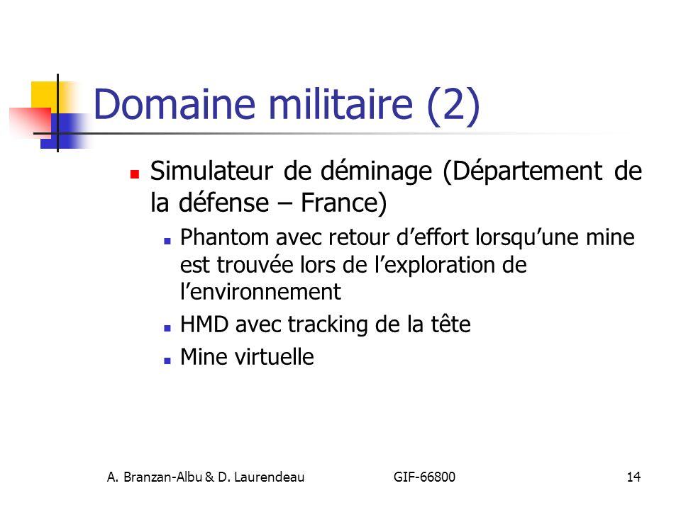 A. Branzan-Albu & D. Laurendeau GIF-66800 14 Domaine militaire (2) Simulateur de déminage (Département de la défense – France) Phantom avec retour def