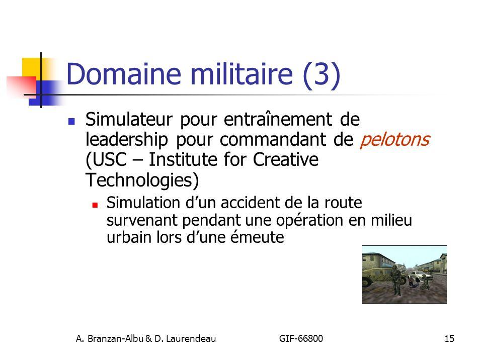 A. Branzan-Albu & D. Laurendeau GIF-66800 15 Domaine militaire (3) Simulateur pour entraînement de leadership pour commandant de pelotons (USC – Insti