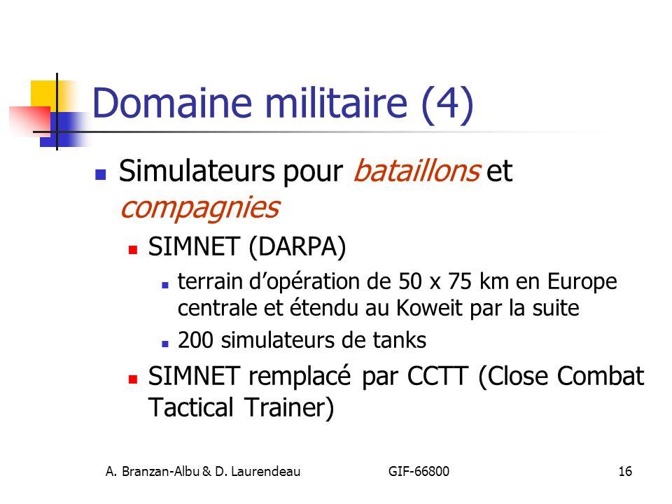 A. Branzan-Albu & D. Laurendeau GIF-66800 16 Domaine militaire (4) Simulateurs pour bataillons et compagnies SIMNET (DARPA) terrain dopération de 50 x