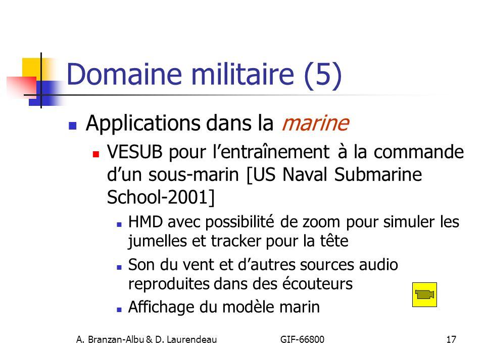 A. Branzan-Albu & D. Laurendeau GIF-66800 17 Domaine militaire (5) Applications dans la marine VESUB pour lentraînement à la commande dun sous-marin [
