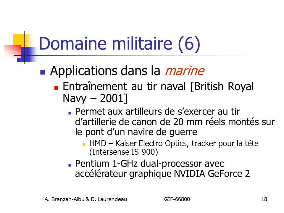 A. Branzan-Albu & D. Laurendeau GIF-66800 18 Domaine militaire (6) Applications dans la marine Entraînement au tir naval [British Royal Navy – 2001] P
