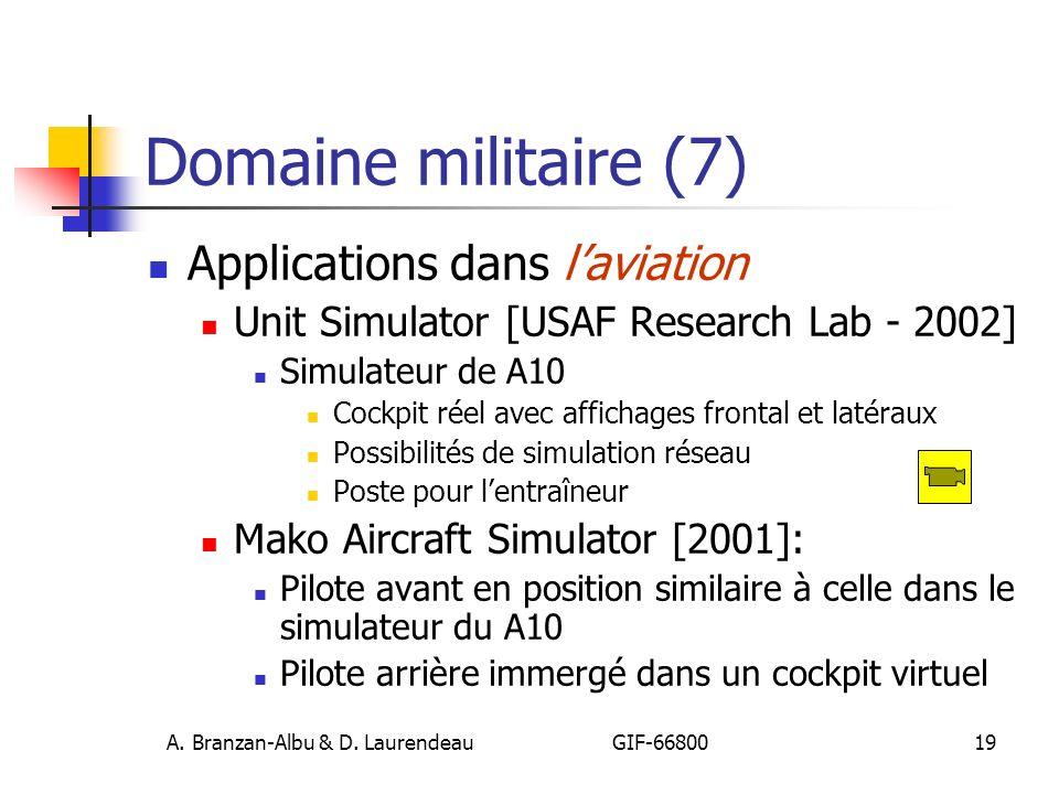 A. Branzan-Albu & D. Laurendeau GIF-66800 19 Domaine militaire (7) Applications dans laviation Unit Simulator [USAF Research Lab - 2002] Simulateur de