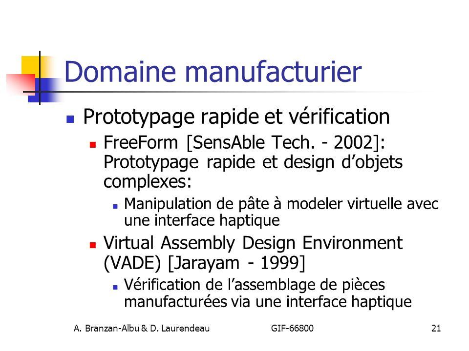 A. Branzan-Albu & D. Laurendeau GIF-66800 21 Domaine manufacturier Prototypage rapide et vérification FreeForm [SensAble Tech. - 2002]: Prototypage ra