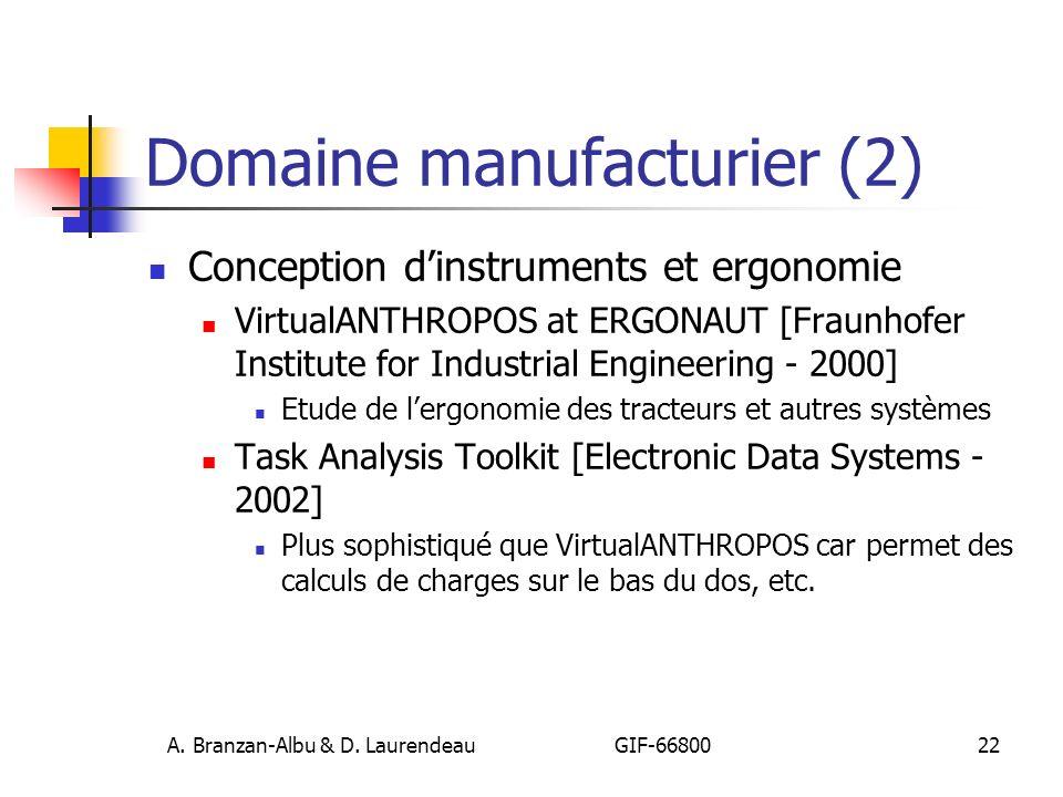 A. Branzan-Albu & D. Laurendeau GIF-66800 22 Domaine manufacturier (2) Conception dinstruments et ergonomie VirtualANTHROPOS at ERGONAUT [Fraunhofer I