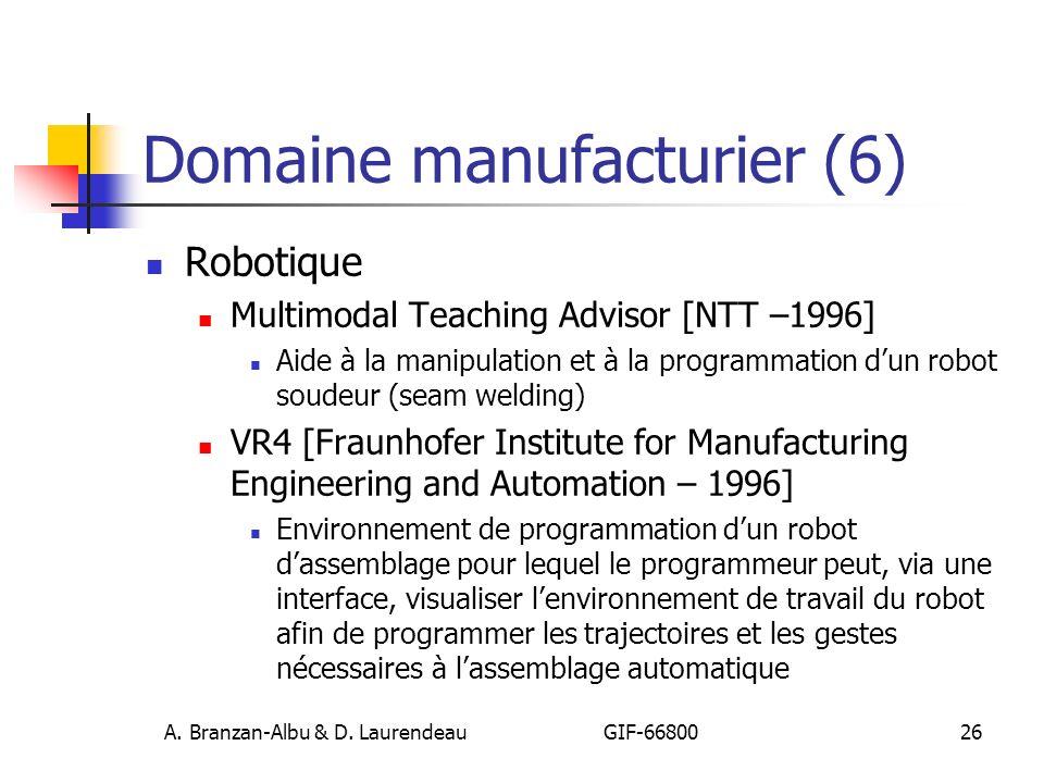 A. Branzan-Albu & D. Laurendeau GIF-66800 26 Domaine manufacturier (6) Robotique Multimodal Teaching Advisor [NTT –1996] Aide à la manipulation et à l