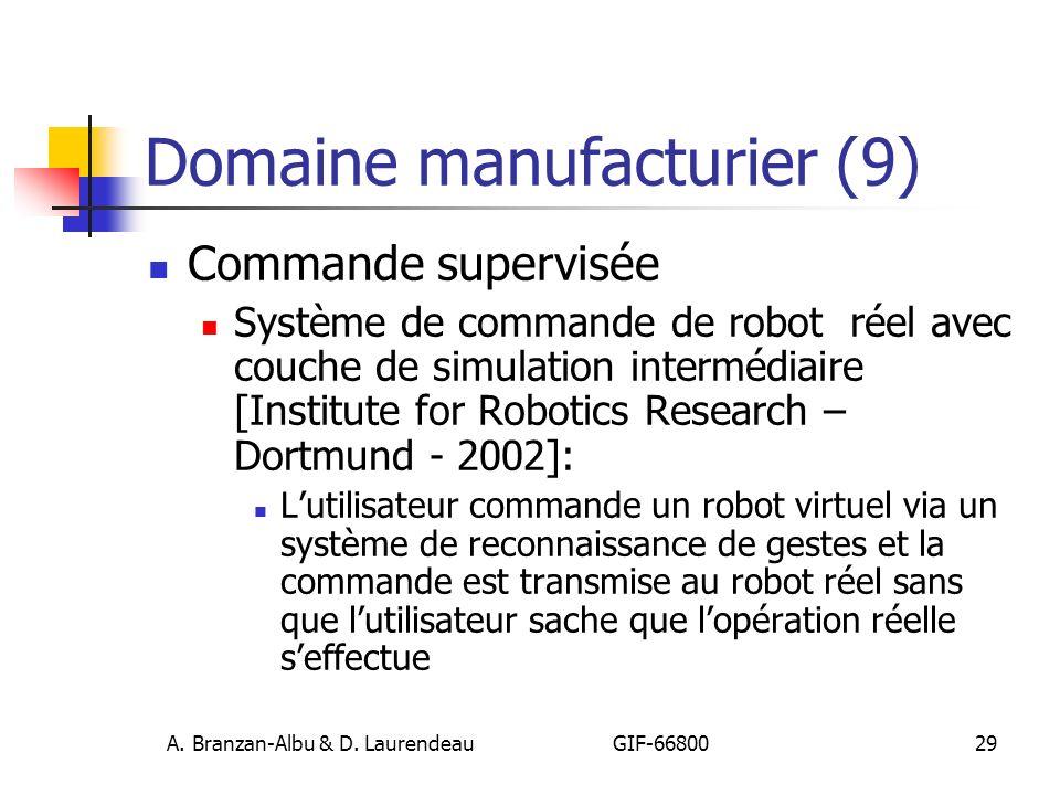 A. Branzan-Albu & D. Laurendeau GIF-66800 29 Domaine manufacturier (9) Commande supervisée Système de commande de robot réel avec couche de simulation