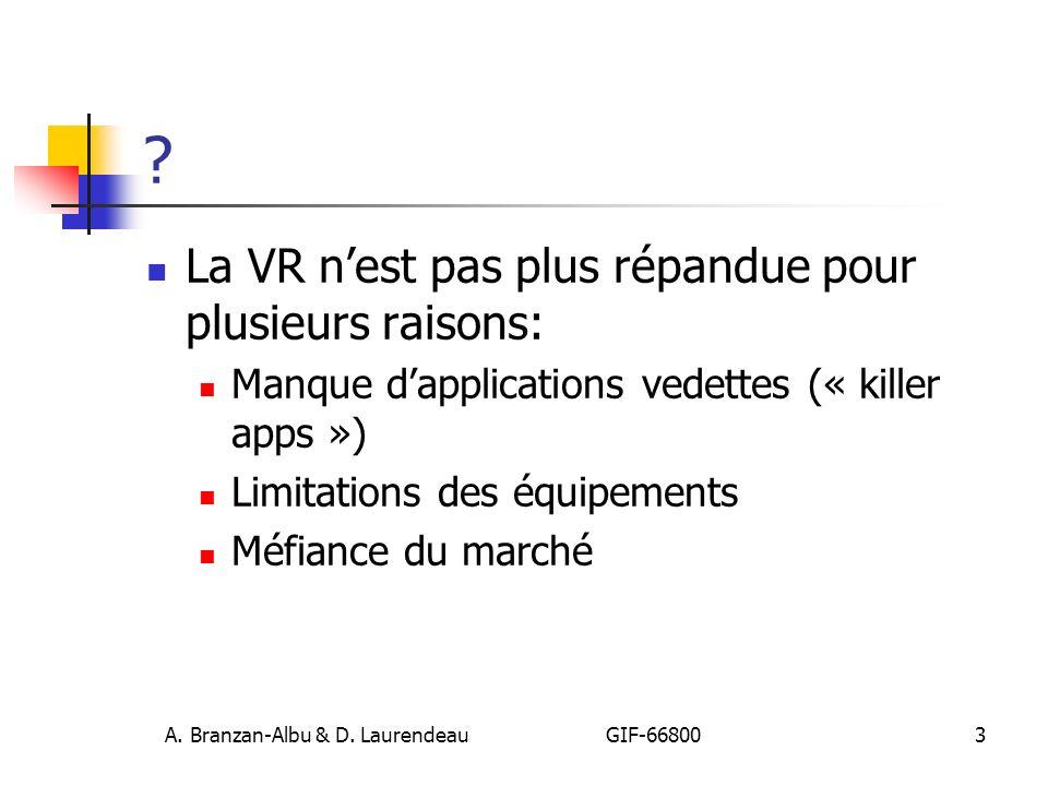 A. Branzan-Albu & D. Laurendeau GIF-66800 3 ? La VR nest pas plus répandue pour plusieurs raisons: Manque dapplications vedettes (« killer apps ») Lim