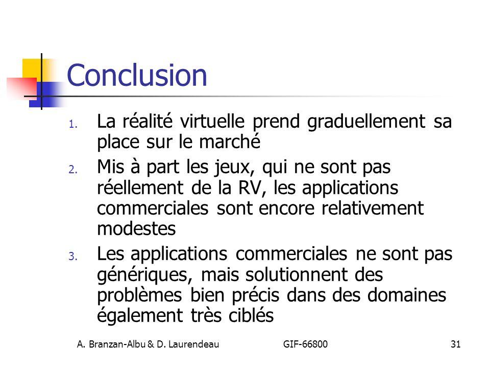 A. Branzan-Albu & D. Laurendeau GIF-66800 31 Conclusion 1. La réalité virtuelle prend graduellement sa place sur le marché 2. Mis à part les jeux, qui
