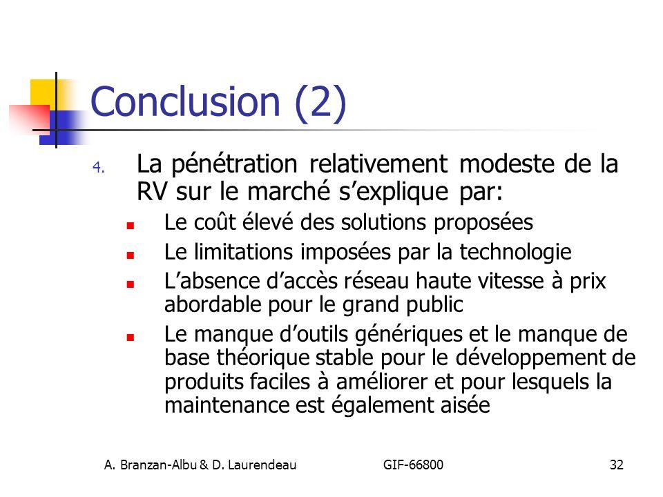 A. Branzan-Albu & D. Laurendeau GIF-66800 32 Conclusion (2) 4. La pénétration relativement modeste de la RV sur le marché sexplique par: Le coût élevé
