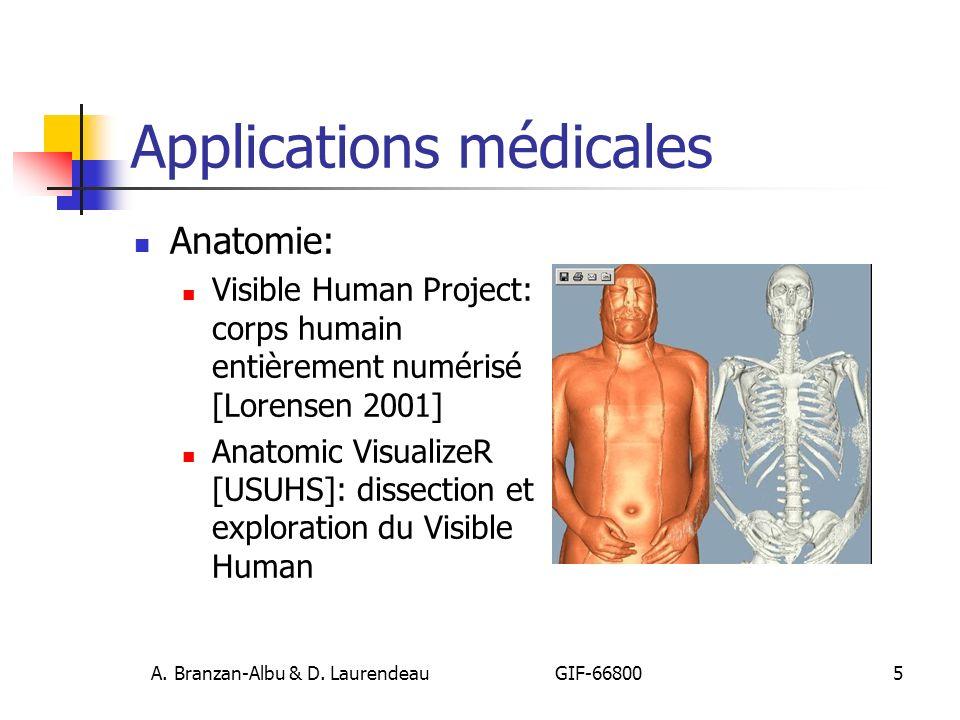 A. Branzan-Albu & D. Laurendeau GIF-66800 5 Applications médicales Anatomie: Visible Human Project: corps humain entièrement numérisé [Lorensen 2001]