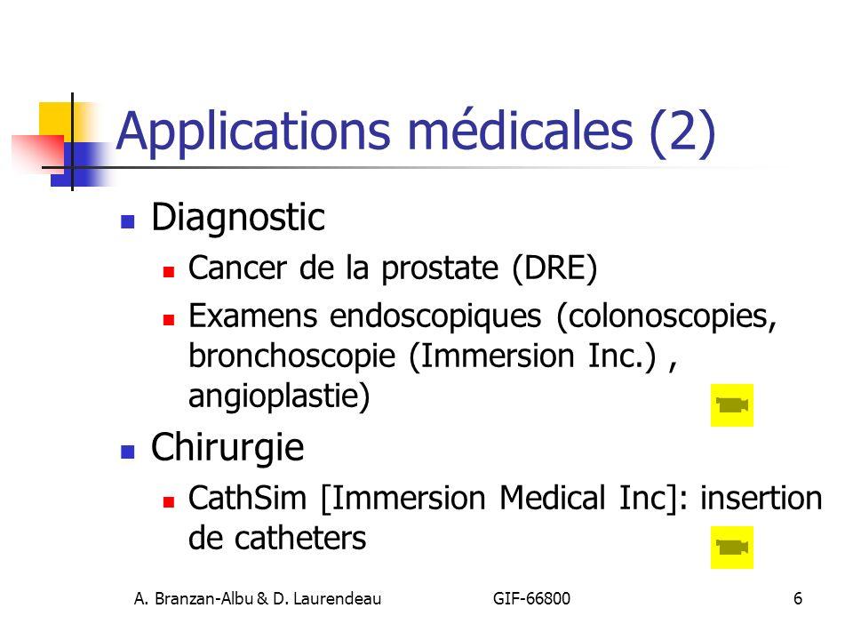 A. Branzan-Albu & D. Laurendeau GIF-66800 6 Applications médicales (2) Diagnostic Cancer de la prostate (DRE) Examens endoscopiques (colonoscopies, br