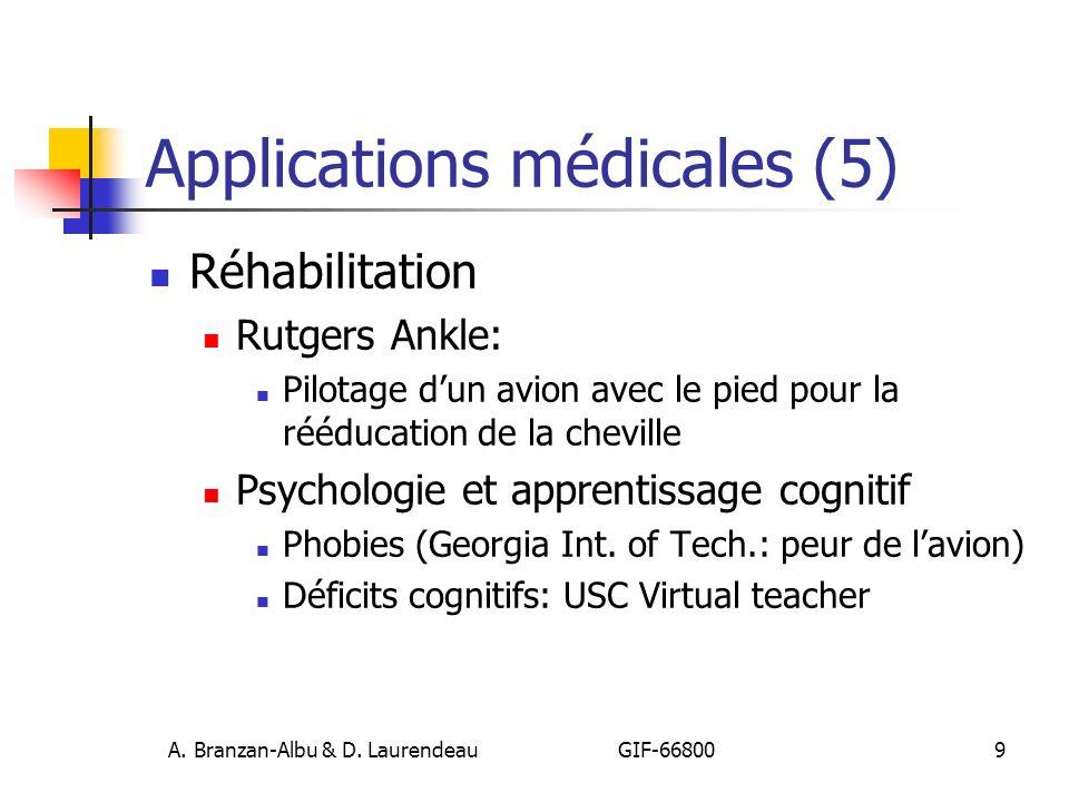 A. Branzan-Albu & D. Laurendeau GIF-66800 9 Applications médicales (5) Réhabilitation Rutgers Ankle: Pilotage dun avion avec le pied pour la rééducati