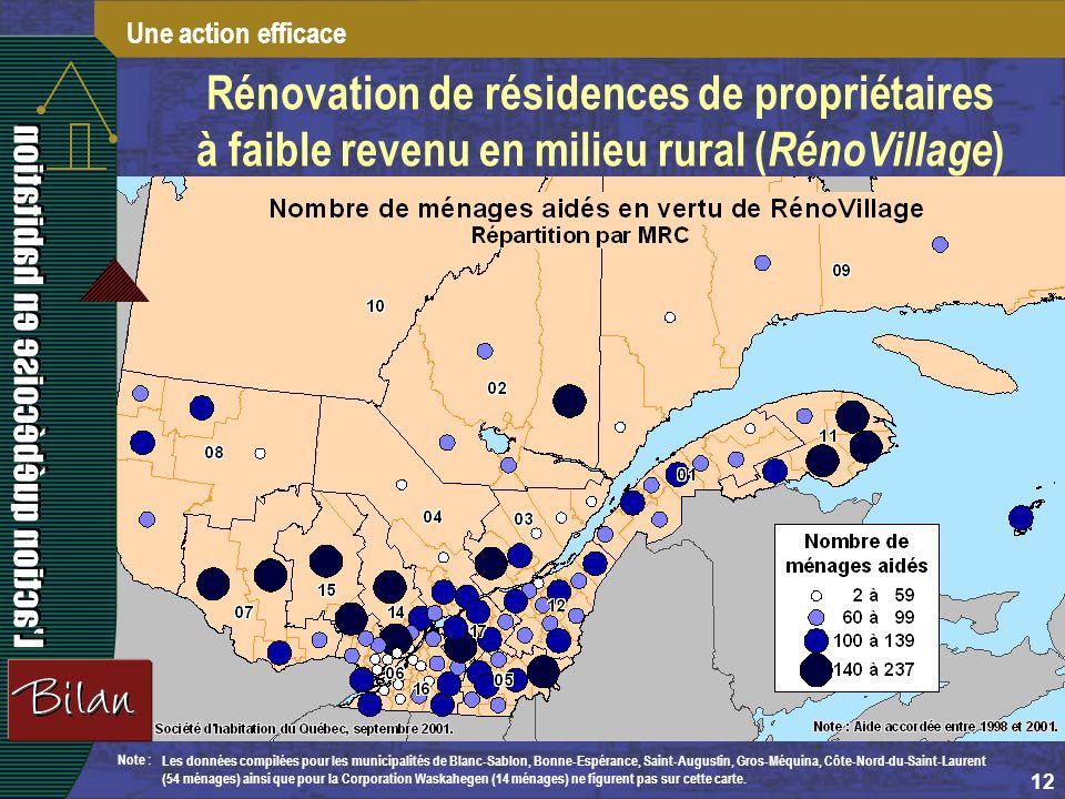 12 Note : Les données compilées pour les municipalités de Blanc-Sablon, Bonne-Espérance, Saint-Augustin, Gros-Méquina, Côte-Nord-du-Saint-Laurent (54 ménages) ainsi que pour la Corporation Waskahegen (14 ménages) ne figurent pas sur cette carte.