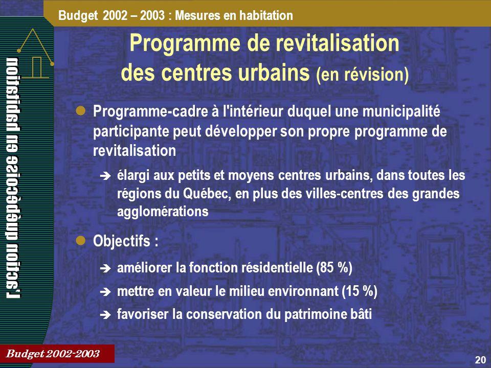 20 Programme de revitalisation des centres urbains (en révision) Programme-cadre à l intérieur duquel une municipalité participante peut développer son propre programme de revitalisation élargi aux petits et moyens centres urbains, dans toutes les régions du Québec, en plus des villes-centres des grandes agglomérations Objectifs : améliorer la fonction résidentielle (85 %) mettre en valeur le milieu environnant (15 %) favoriser la conservation du patrimoine bâti Budget 2002 – 2003 : Mesures en habitation Budget 2002-2003