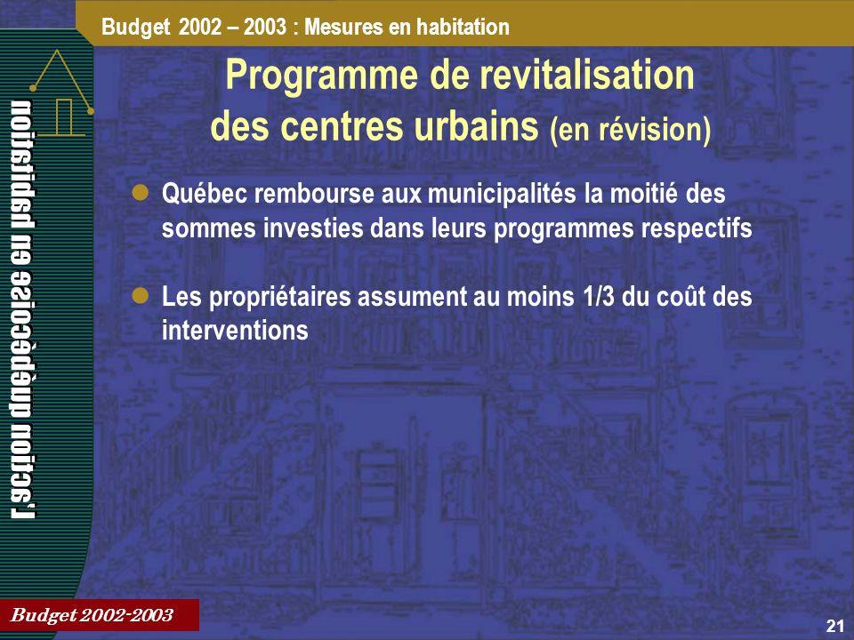 21 Programme de revitalisation des centres urbains (en révision) Québec rembourse aux municipalités la moitié des sommes investies dans leurs programmes respectifs Les propriétaires assument au moins 1/3 du coût des interventions Budget 2002 – 2003 : Mesures en habitation Budget 2002-2003