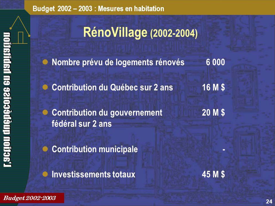 24 RénoVillage (2002-2004) Budget 2002 – 2003 : Mesures en habitation Budget 2002-2003 Nombre prévu de logements rénovés6 000 Contribution du Québec sur 2 ans16 M $ Contribution du gouvernement fédéral sur 2 ans 20 M $ Contribution municipale- Investissements totaux45 M $