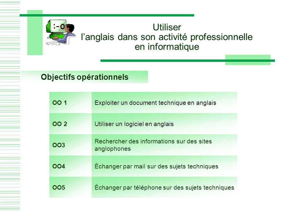 Utiliser langlais dans son activité professionnelle en informatique Objectifs opérationnels OO 1Exploiter un document technique en anglais OO 2Utiliser un logiciel en anglais OO3 Rechercher des informations sur des sites anglophones OO4Échanger par mail sur des sujets techniques OO5Échanger par téléphone sur des sujets techniques