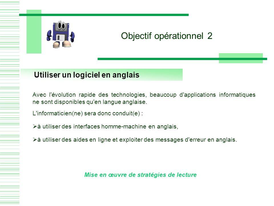 Utiliser un logiciel en anglais Mise en œuvre de stratégies de lecture Objectif opérationnel 2 Avec l évolution rapide des technologies, beaucoup d applications informatiques ne sont disponibles qu en langue anglaise.