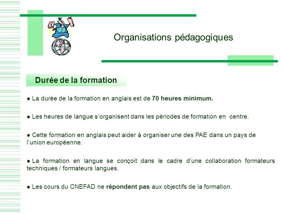 Organisations pédagogiques Durée de la formation La durée de la formation en anglais est de 70 heures minimum.