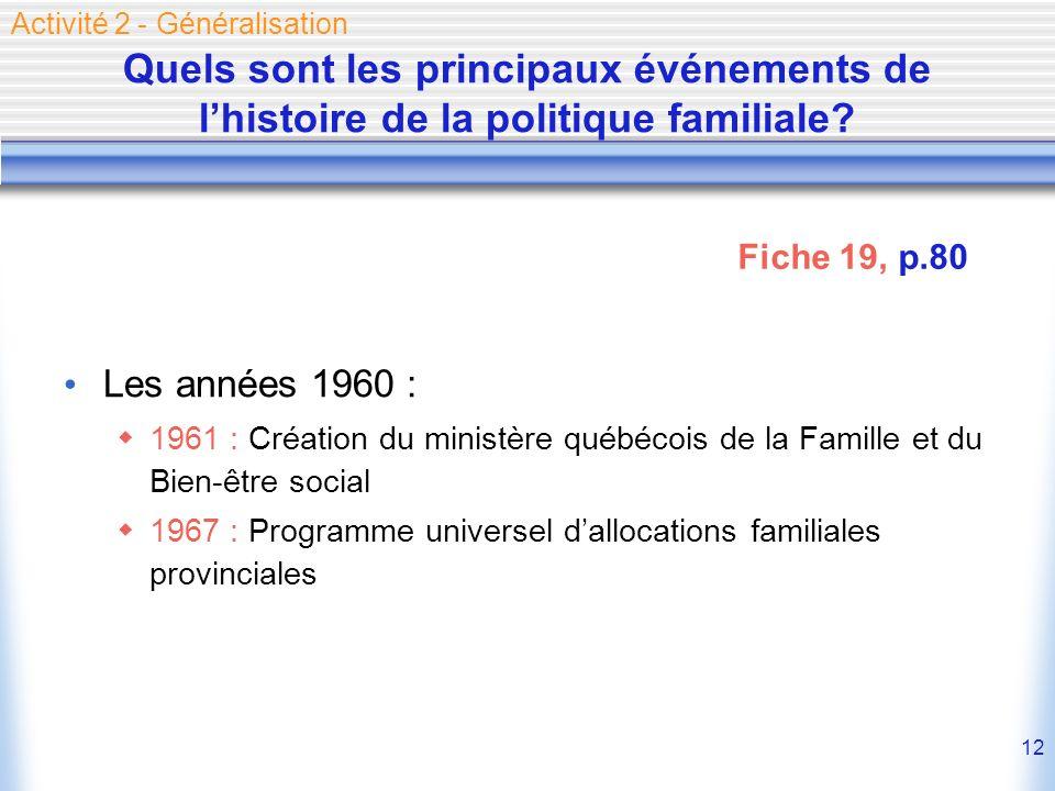 12 Quels sont les principaux événements de lhistoire de la politique familiale? Les années 1960 : 1961 : Création du ministère québécois de la Famille