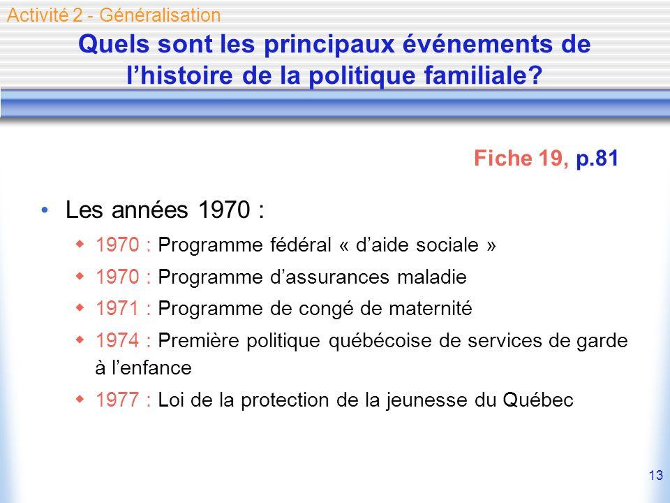 13 Quels sont les principaux événements de lhistoire de la politique familiale? Les années 1970 : 1970 : Programme fédéral « daide sociale » 1970 : Pr