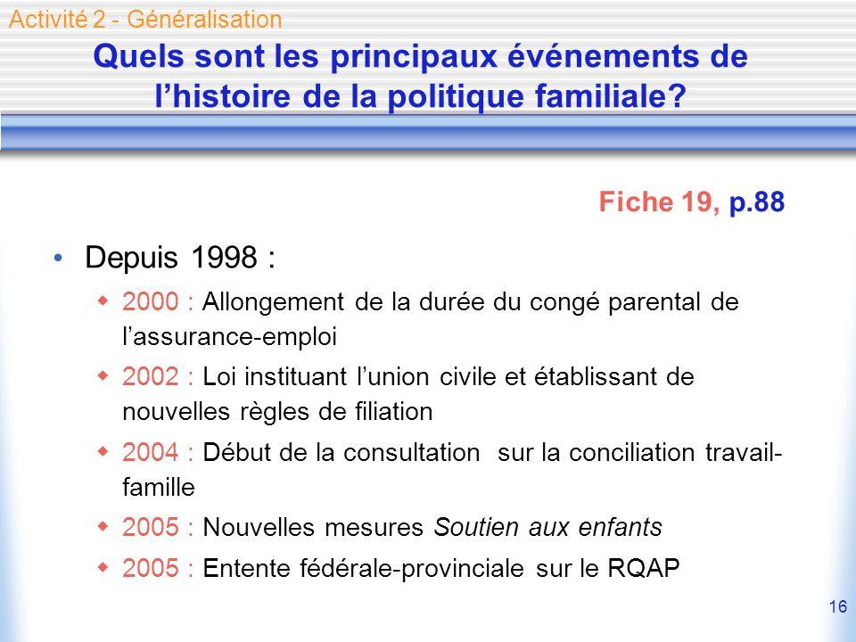 16 Quels sont les principaux événements de lhistoire de la politique familiale? Depuis 1998 : 2000 : Allongement de la durée du congé parental de lass