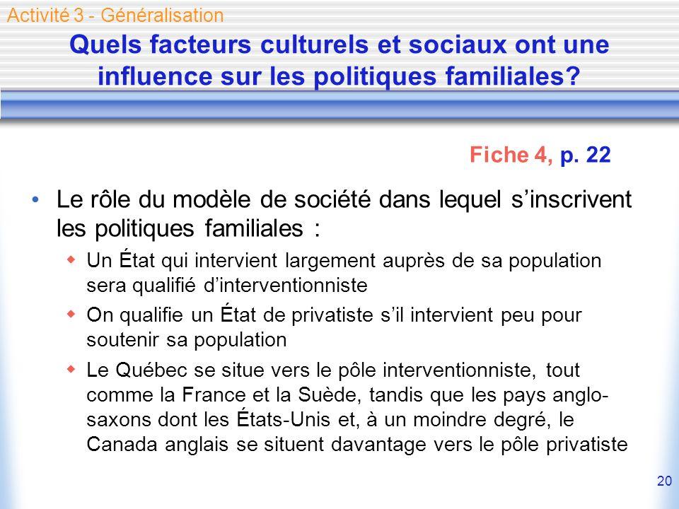 20 Quels facteurs culturels et sociaux ont une influence sur les politiques familiales? Le rôle du modèle de société dans lequel sinscrivent les polit