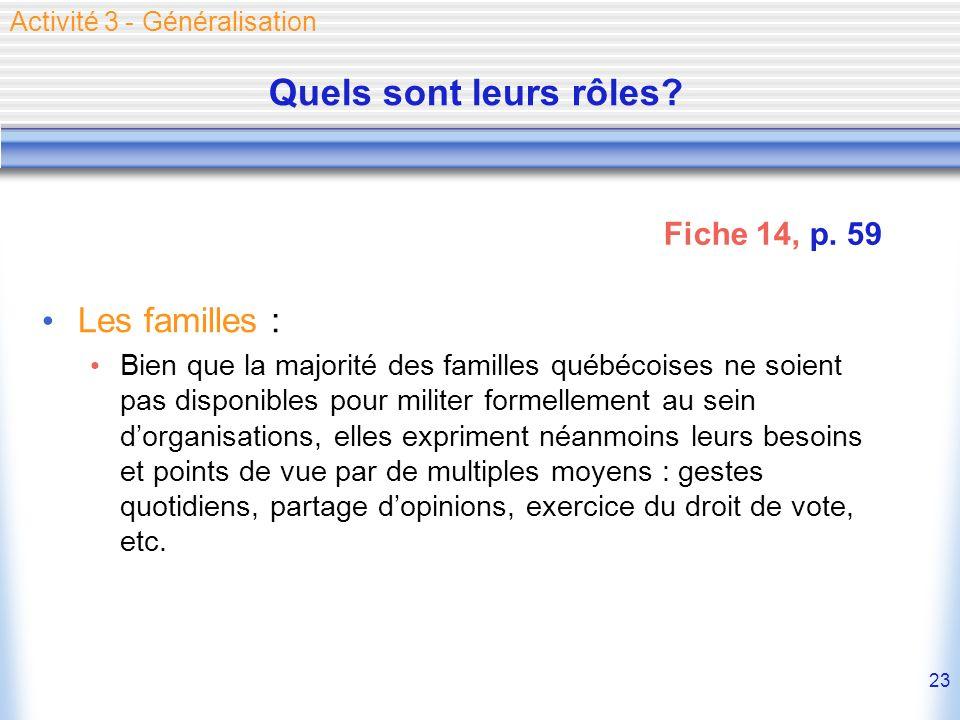 23 Quels sont leurs rôles? Les familles : Bien que la majorité des familles québécoises ne soient pas disponibles pour militer formellement au sein do