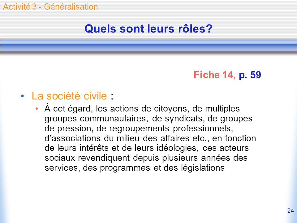 24 Quels sont leurs rôles? La société civile : À cet égard, les actions de citoyens, de multiples groupes communautaires, de syndicats, de groupes de