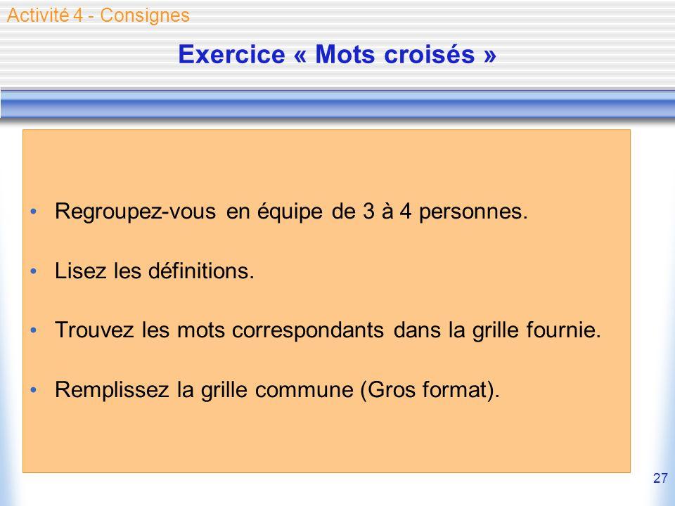 27 Exercice « Mots croisés » Regroupez-vous en équipe de 3 à 4 personnes. Lisez les définitions. Trouvez les mots correspondants dans la grille fourni
