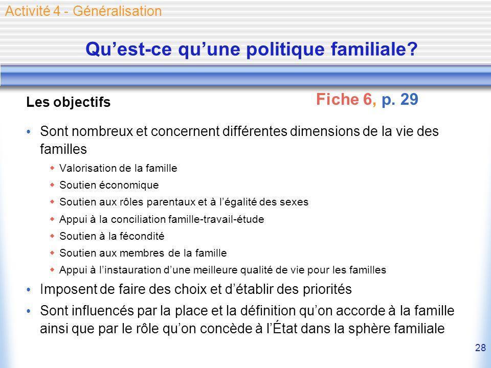 28 Quest-ce quune politique familiale? Les objectifs Sont nombreux et concernent différentes dimensions de la vie des familles Valorisation de la fami