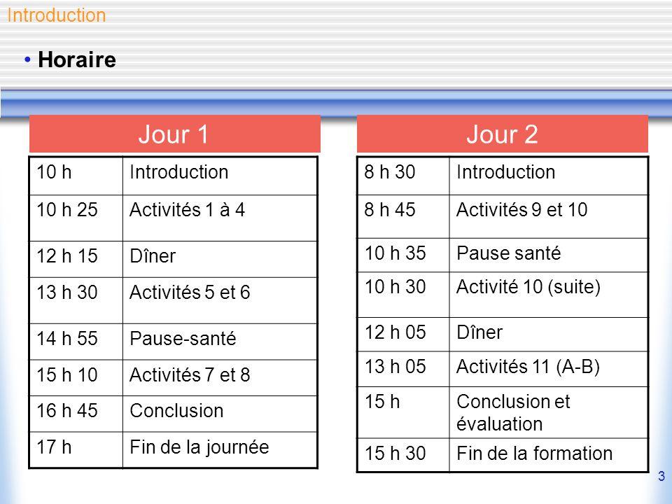 3 Horaire Introduction 10 hIntroduction 10 h 25Activités 1 à 4 12 h 15Dîner 13 h 30Activités 5 et 6 14 h 55Pause-santé 15 h 10Activités 7 et 8 16 h 45Conclusion 17 hFin de la journée Jour 1Jour 2 8 h 30Introduction 8 h 45Activités 9 et 10 10 h 35Pause santé 10 h 30Activité 10 (suite) 12 h 05Dîner 13 h 05Activités 11 (A-B) 15 hConclusion et évaluation 15 h 30Fin de la formation
