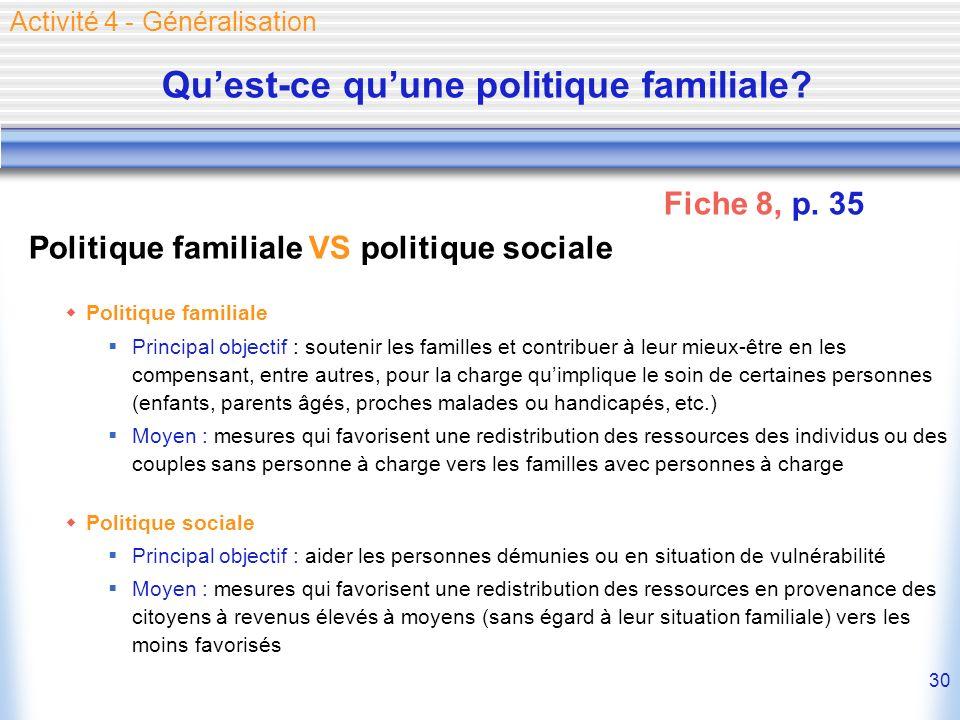 30 Politique familiale VS politique sociale Politique familiale Principal objectif : soutenir les familles et contribuer à leur mieux-être en les comp