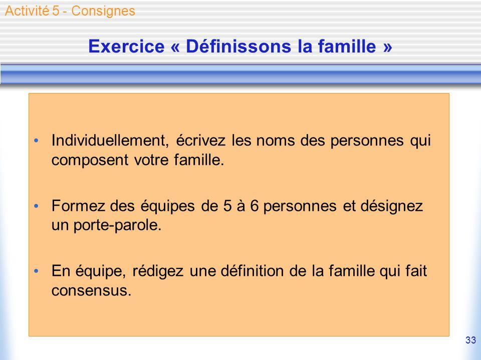 33 Exercice « Définissons la famille » Individuellement, écrivez les noms des personnes qui composent votre famille. Formez des équipes de 5 à 6 perso