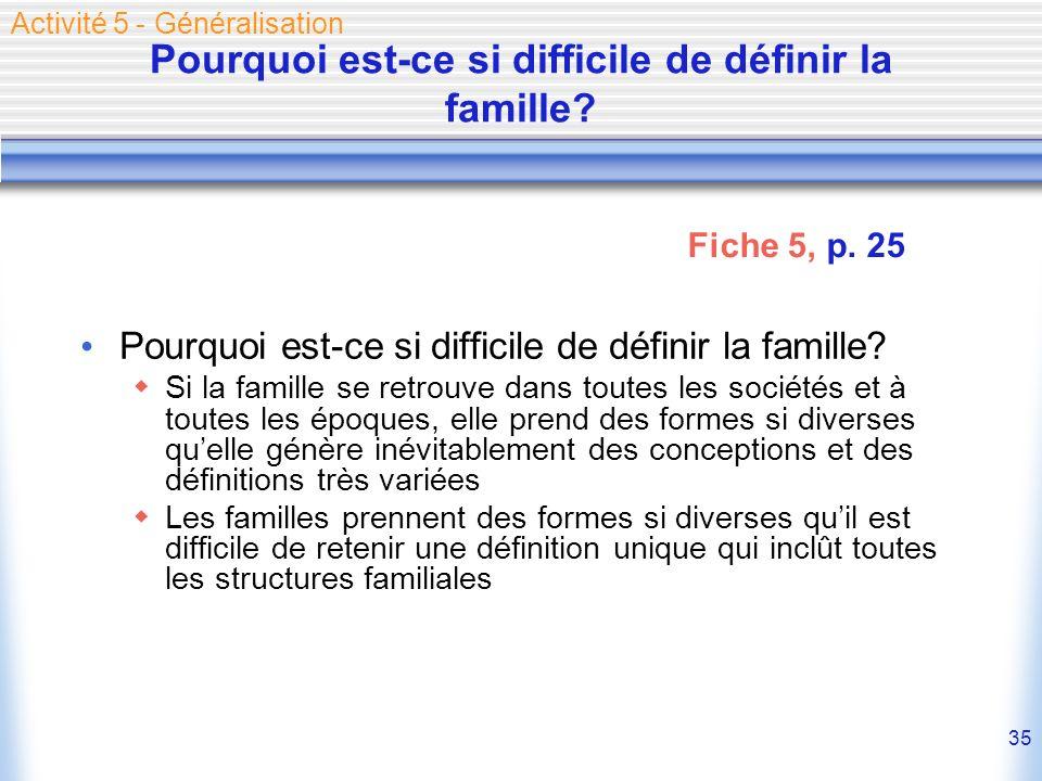 35 Pourquoi est-ce si difficile de définir la famille? Si la famille se retrouve dans toutes les sociétés et à toutes les époques, elle prend des form