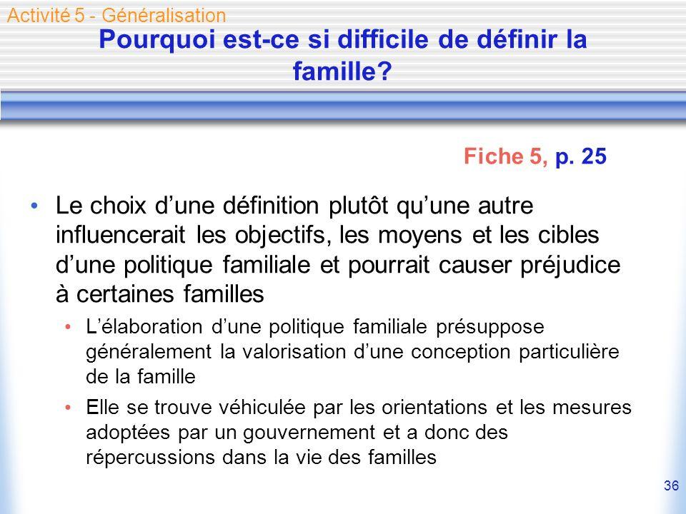 36 Pourquoi est-ce si difficile de définir la famille? Le choix dune définition plutôt quune autre influencerait les objectifs, les moyens et les cibl