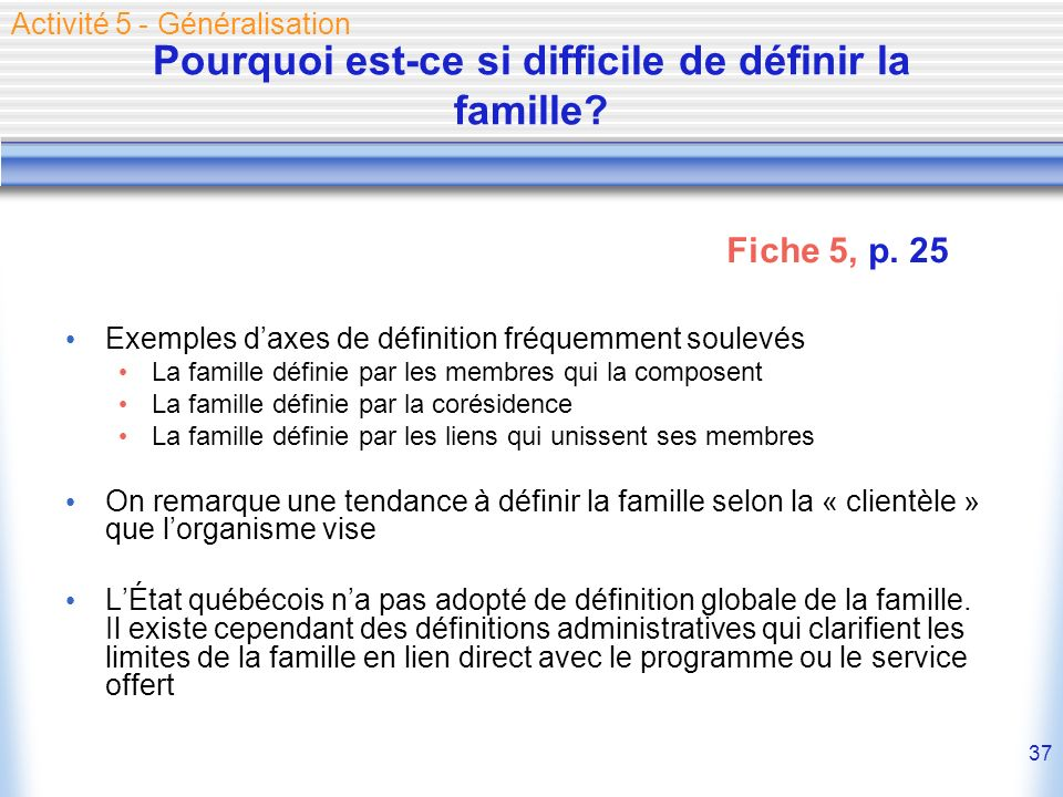 37 Pourquoi est-ce si difficile de définir la famille? Exemples daxes de définition fréquemment soulevés La famille définie par les membres qui la com