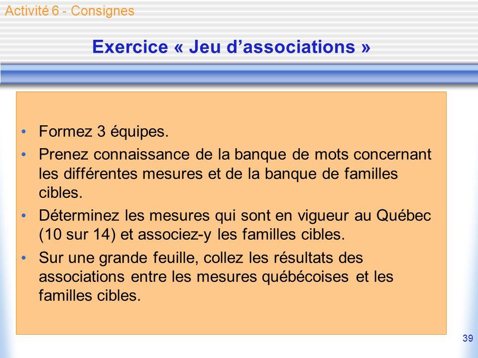 39 Exercice « Jeu dassociations » Formez 3 équipes.