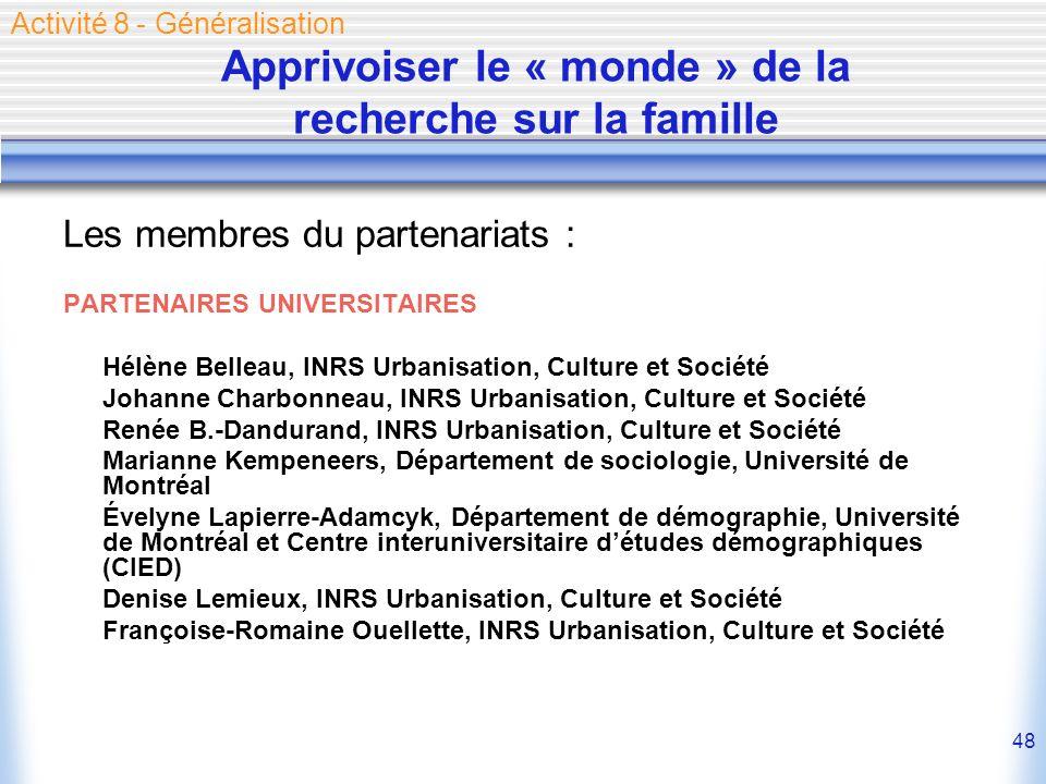 48 Les membres du partenariats : PARTENAIRES UNIVERSITAIRES Hélène Belleau, INRS Urbanisation, Culture et Société Johanne Charbonneau, INRS Urbanisati