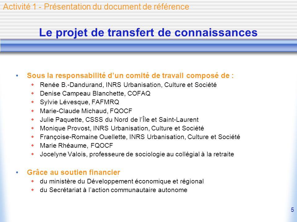 5 Le projet de transfert de connaissances Sous la responsabilité dun comité de travail composé de : Renée B.-Dandurand, INRS Urbanisation, Culture et