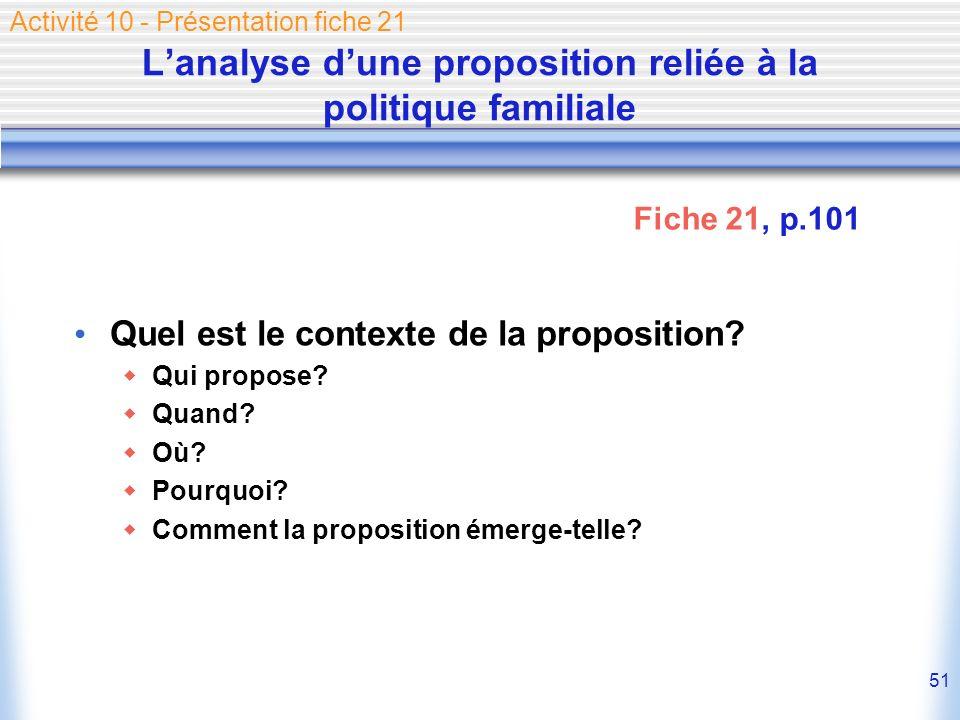 51 Lanalyse dune proposition reliée à la politique familiale Quel est le contexte de la proposition? Qui propose? Quand? Où? Pourquoi? Comment la prop