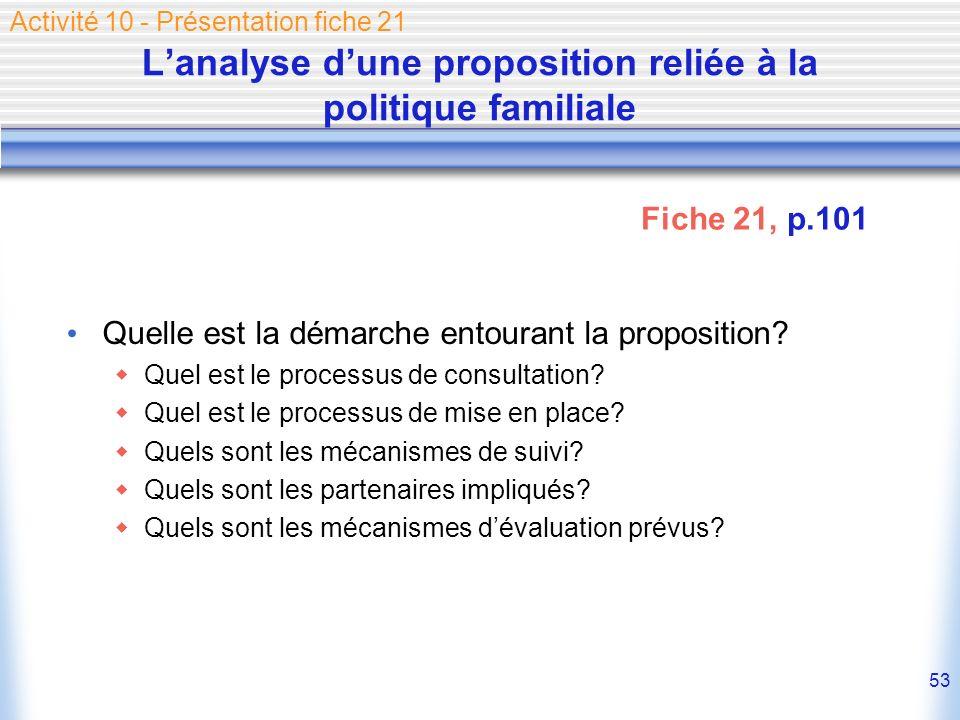 53 Lanalyse dune proposition reliée à la politique familiale Quelle est la démarche entourant la proposition? Quel est le processus de consultation? Q