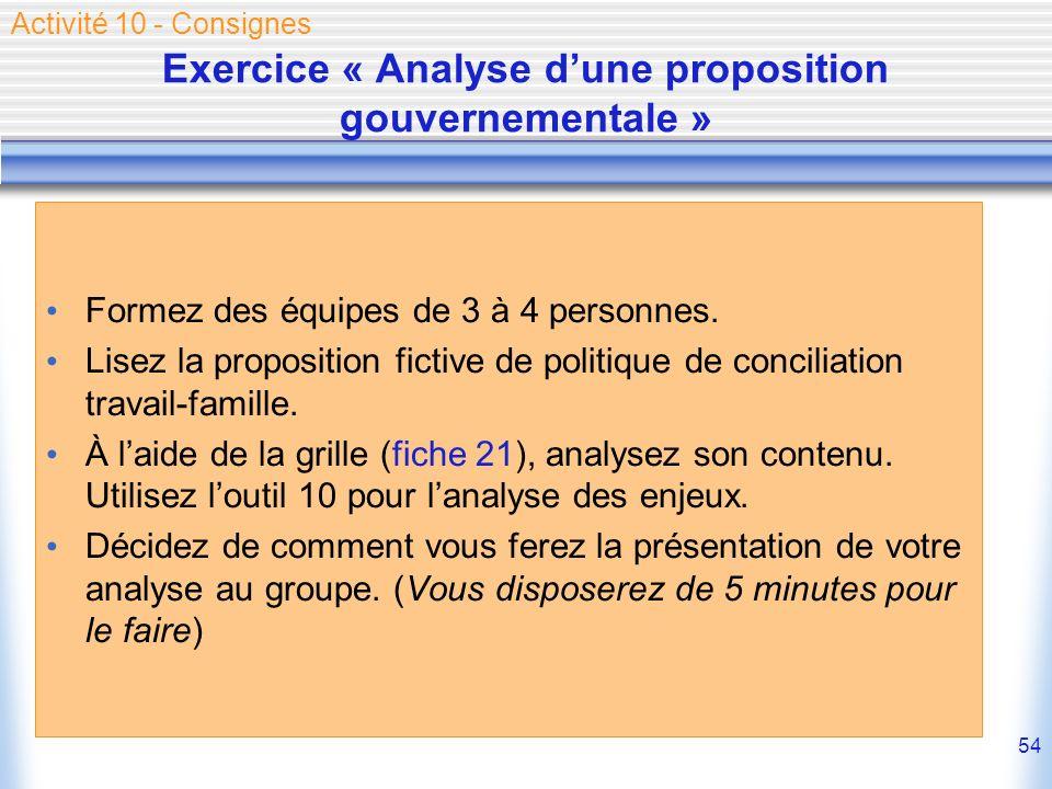 54 Exercice « Analyse dune proposition gouvernementale » Formez des équipes de 3 à 4 personnes. Lisez la proposition fictive de politique de conciliat