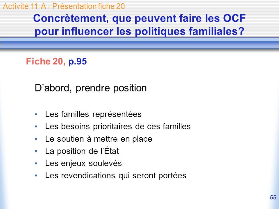 55 Concrètement, que peuvent faire les OCF pour influencer les politiques familiales? Dabord, prendre position Les familles représentées Les besoins p