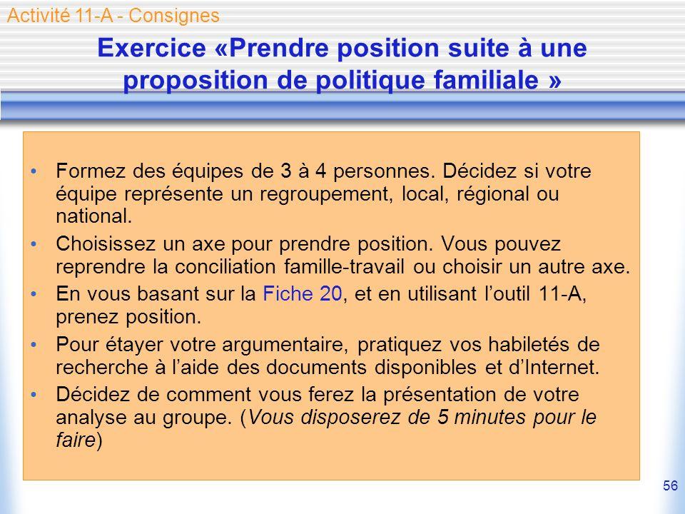 56 Exercice «Prendre position suite à une proposition de politique familiale » Formez des équipes de 3 à 4 personnes. Décidez si votre équipe représen
