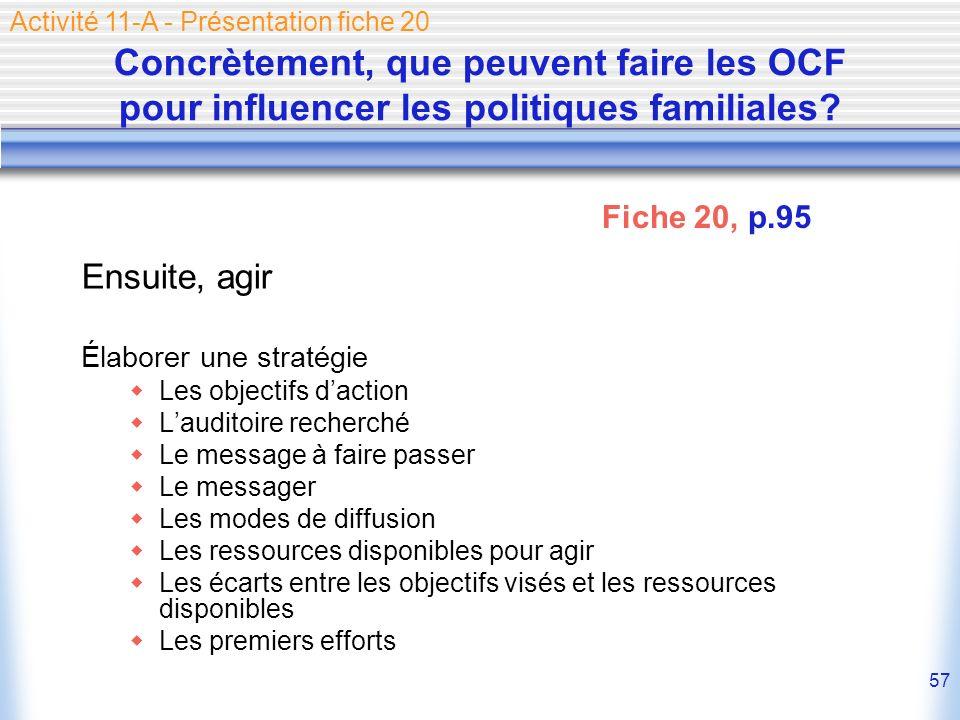 57 Concrètement, que peuvent faire les OCF pour influencer les politiques familiales? Ensuite, agir Élaborer une stratégie Les objectifs daction Laudi