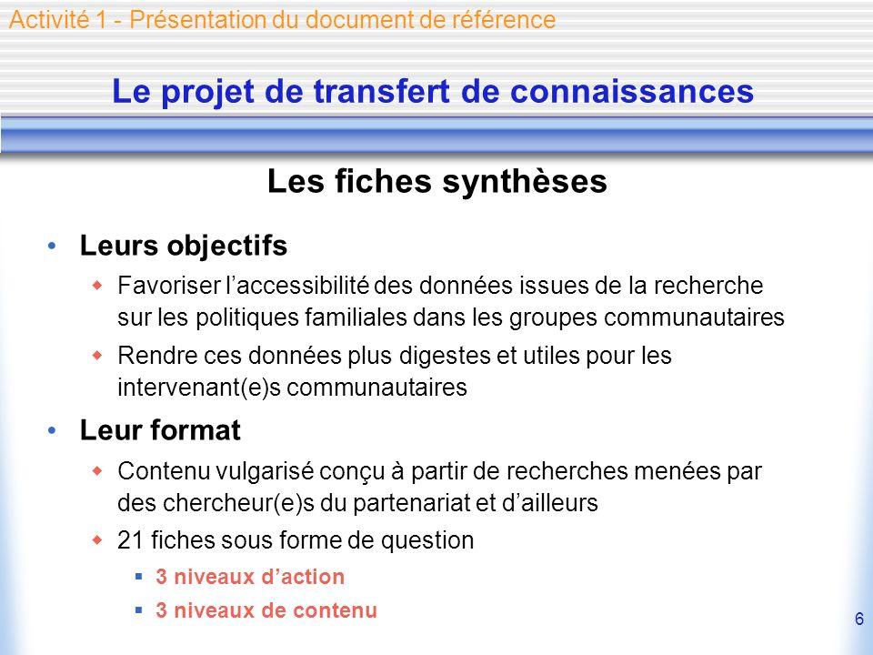 6 Le projet de transfert de connaissances Les fiches synthèses Leurs objectifs Favoriser laccessibilité des données issues de la recherche sur les pol