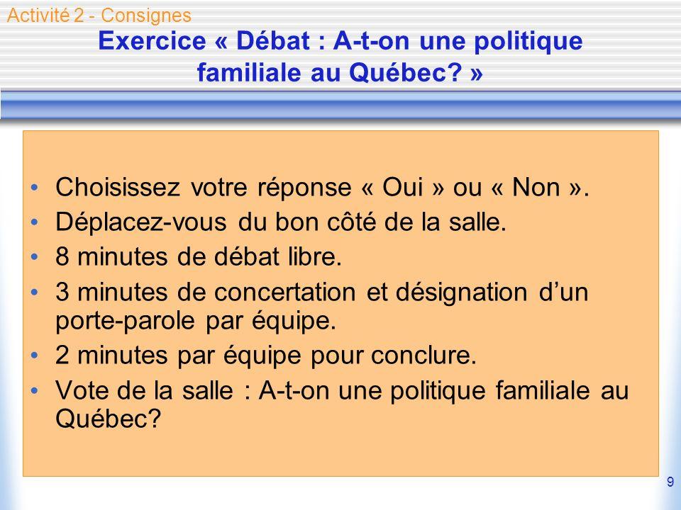 9 Exercice « Débat : A-t-on une politique familiale au Québec? » Choisissez votre réponse « Oui » ou « Non ». Déplacez-vous du bon côté de la salle. 8