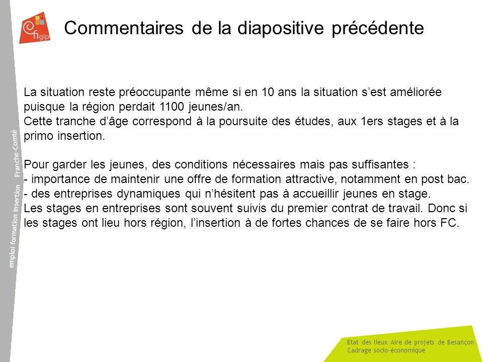 Etat des lieux Aire de projets de Besançon Cadrage socio-économique Commentaires de la diapositive précédente La situation reste préoccupante même si en 10 ans la situation sest améliorée puisque la région perdait 1100 jeunes/an.